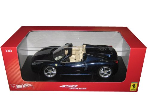 2012 2013 Ferrari Italia 458 Spider Dark Blue Metallic 1/18 by Hotwheels X5529 (Ferrari 458 Italia Model compare prices)