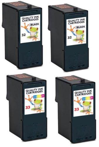 Wiederbefüllte Lexmark 32 & 2 X 2 X 33, 4 Tintenpatronen