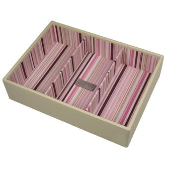 Jewellery Box Stacker with 3 Chambers. Medium sized in Cream.