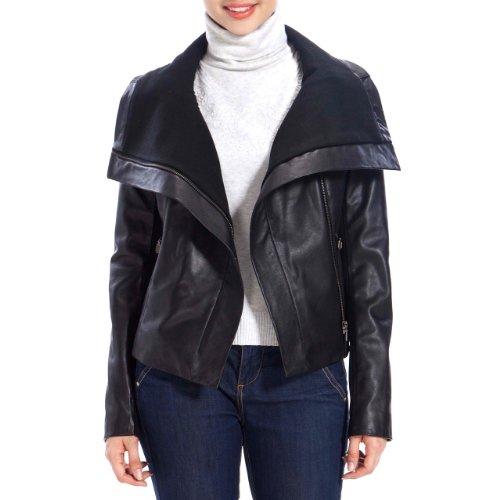 Black Leather Jacket for Women Jessie G. Women's Drape Neck New Zealand  Lambskin Leather Jacket
