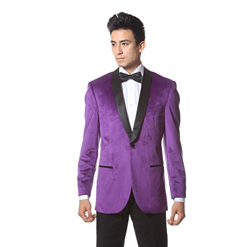 36S Zonettie ENZO Purple Slim Fit Shawl Tuxedo Blazer