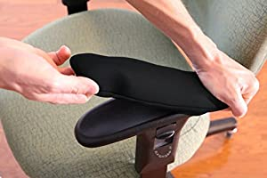 "Chair Arm Pad Covers Stretch 10.5"" to 13"". Cushion, Restore, and Protect Armrests. Set of 2. Simple Install."