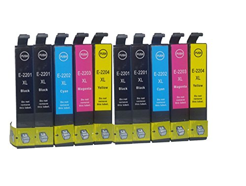 10 Pack Replacing Epson 220 220XL T220XL120 T220XL220 T220XL320 T220XL420 Color Set Ink Cartridge Use for Epson Expression XP-320 420 424 WorkForce WF-2630 WF-2650 WF-2660 Series Printers