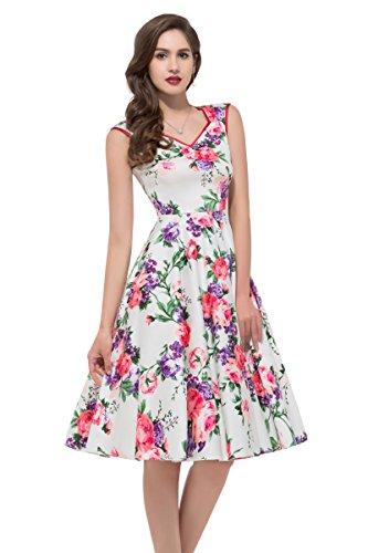 Women Sleeveless Knee-Length Vintage Bridesmaid Dresses (7600-1, M)