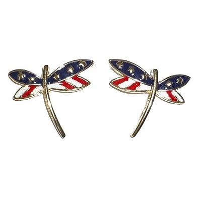 Patriotic Dragonfly Pierced Earring