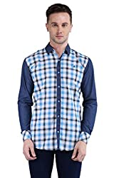 BRAVEZI Men's Blue Checkered Casual Slim Fit Shirt