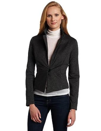 AK Anne Klein Women's Knit Jacket, Black/Sugar, Small