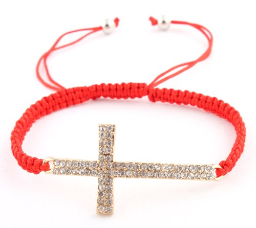 Red Lace Style Iced Out Cross Bracelet with Beaded Disco Balls Macrame Shamballah