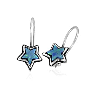 Turquoise Color Opal Stone Star Hanging Earrings for Women in Gift Box