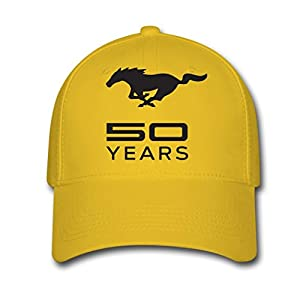 MUSTANG Mark Logo Woman or Men Unisex Adjustable Baseball Caps Yellow