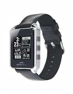 MetaWatch FRAME (noir) Smartwatch - Boîtier en acier inoxydable - Bracelet en cuir - pour iPhone et Android