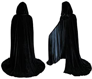 Lined Black Velvet Cloak - Medieval Renaissance Costume by Artemisia Designs