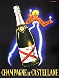 "Vintage French ""Champagne de Castellane"" Neon Lady Poster by Robert Falcucci"