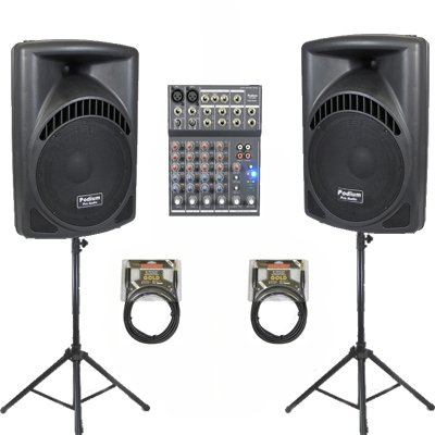 """1 Pair of New Karaoke PA Band 12"""" Pro Audio MP3 Powered Active 1200 Watt Speakers, Mixer, Stands and Cables DJ Set PP1204CASET3"""