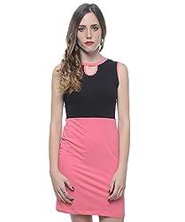 Xniva Women's Viscose Black And Pink Half Half Bodycon