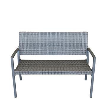 gartenbank 2 sitzer alu parkbank mit rattanbespannung aluminium sitzbank polyrattan rattanbank. Black Bedroom Furniture Sets. Home Design Ideas