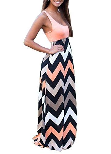 Shangke Womens Ladies Striped Zig Zag Scoop Neck Chevron Print Tank Maxi Long Party Dress (M, pink)