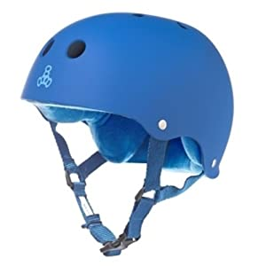 Triple Eight Brainsaver Rubber Blue Skate Helmet & Sweatsaver Liner by Triple Eight
