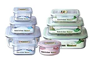 Kinetic Go Green Glasslock Food Storage Container Set 01351 with Lids, 16-Piece