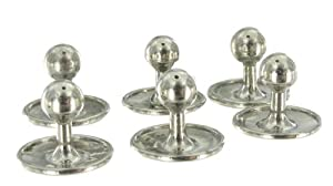 Rio Silver Plated Metal Mens Shirt Studs Collar Buttons Set of 6