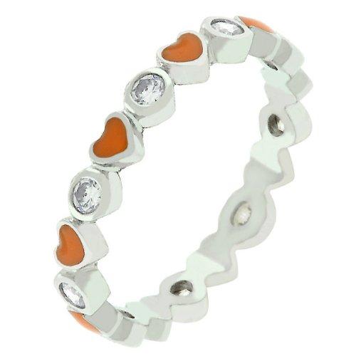 Orange Enamel Heart Round Cubic Zirconia CZ Silver Tone Promise Ring (Size 5,6,7,8,9,10)