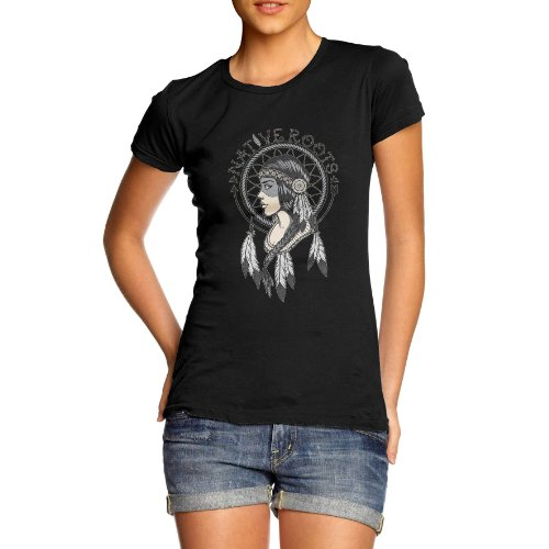 Womens Graphic Print Native Roots American Indian T-Shirt Black X Large