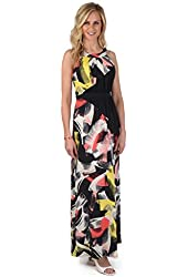 Sangria Womens Sleeveless Printed Maxi Dress