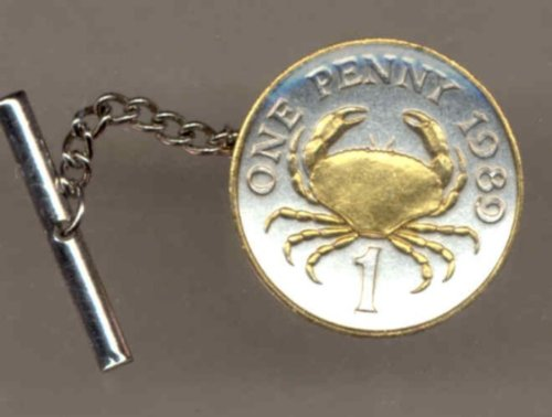 Two Tone Gold on Silver World Crab Coin Tie Tack- 161TT