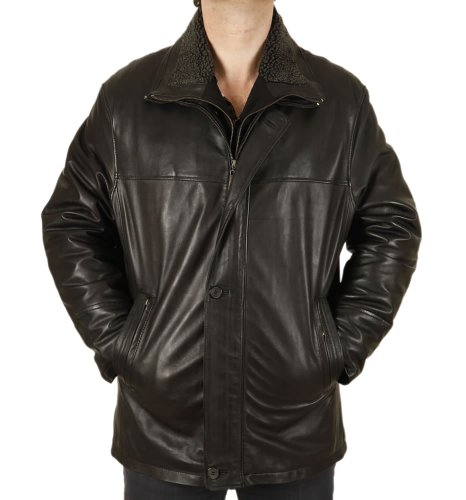 Mens Black Nappa 3/4 Leather Coat With Zip Out Collar - Size 3XL