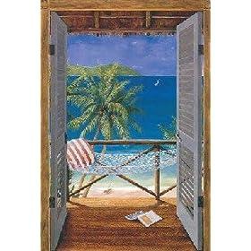 Tropical Beach Doors Window Wallpaper Wall Mural Home Decor Sea Sand Hammock Palm Tree Paradise