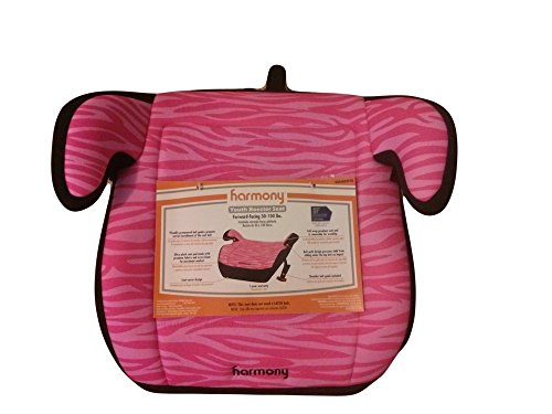 Harmony Youth Backless Booster Car Seat For Toddlers Will Make Your Child Comfortable And Safe. Dark Pink On Light Pink Zebra Type Design That Is Machine Washable front-615158