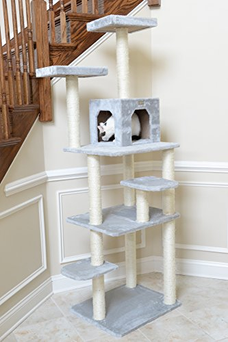 Gleepet gp78740822 cat tree 74 inch silver gray animals for Cat tree steps