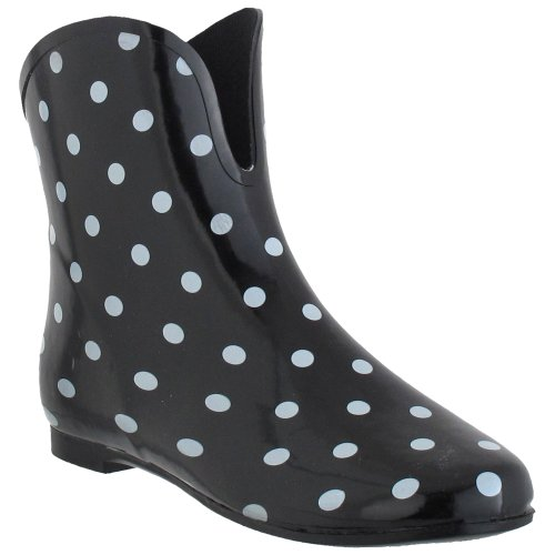 Capelli New York Polka Dot Print With Pull Loop Ladies V-Cut Body Rubber Rain Boot Black Combo 8