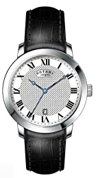 Rotary Men's Quartz Watch with White Dial Analogue Display and Black Leather Strap GS42825/01