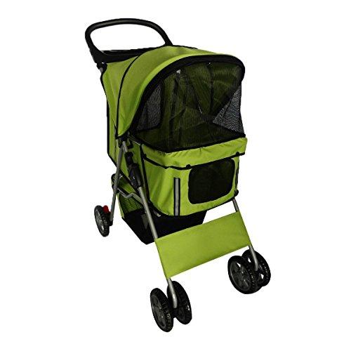 Pingkay Green Color Deluxe Folding 4 Wheels Travel Pet Dog Cat Carrier Stroller