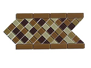 Cafe Mosaic Diagonal Glass Tile Border / 12 ln ft