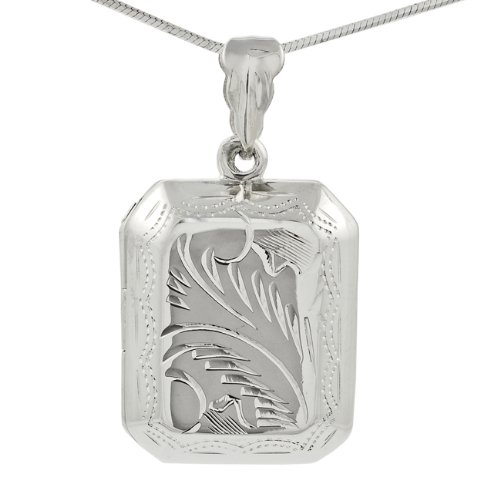 Sterling Silver Etched Locket Necklace