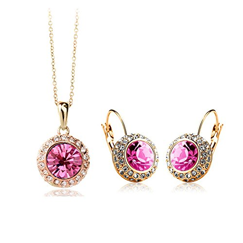 Chariot Trading - Cs86 2014 Crystal Jewelry Necklace Earring Set Made With Austrian Element Crystals For Women ( Color : Gold Rose Red )