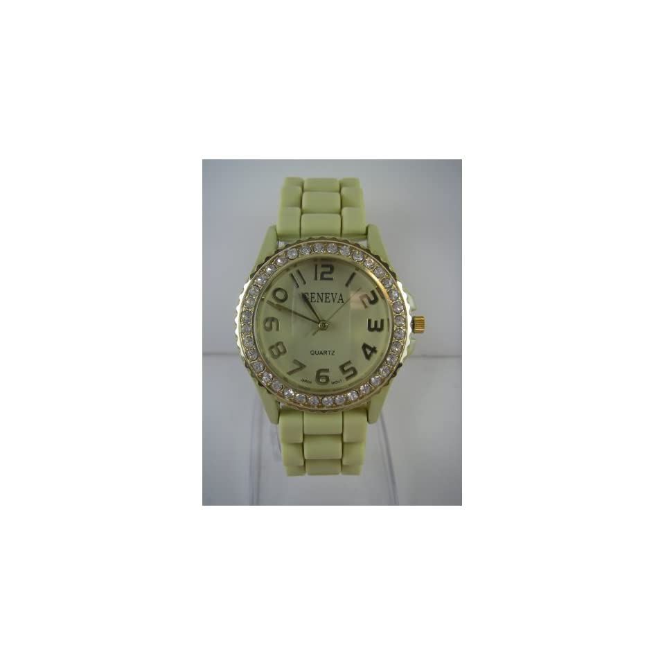 Ladies Dress Watch with Tan Silicone Band   Womens Fashion Watch with Rhinestone Gold Bezel