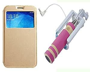 Novo Style Samsung GalaxyA5 Window View Premium Flip Cover Case W Stand View+ Wired Selfie Stick No Battery Charging Premium Sturdy Design Best Pocket SizedSelfie Stick