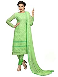 Meet Enterprise Exclusive Pure Chiffon Parrot Green Color Dress Material