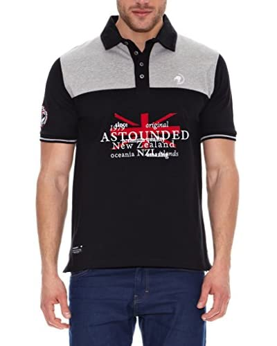 ASTOUNDED Poloshirt Massachusetts schwarz