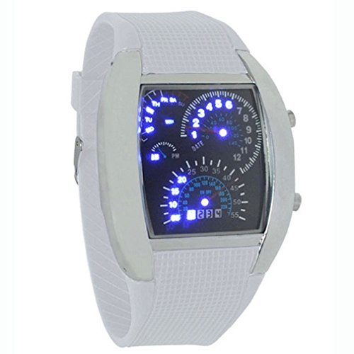 Towallmark(Tm)Fashion Aviation Turbo Dial Flash Led Watch Gift Mens Lady Sports Car Meter White
