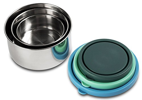MIRA Set of 3 Stainless Steel lunch box and food storage containers, Multi Color (Glass Fruit Containers compare prices)