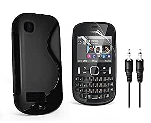 Combo Pack, High Quality Anti-Skid TPU Back Cover for Nokia Asha 200 with Audio AUX Cable Free