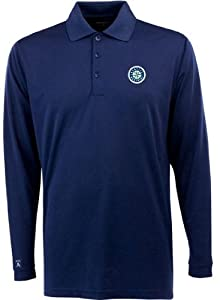 Seattle Mariners Long Sleeve Polo Shirt (Team Color) by Antigua