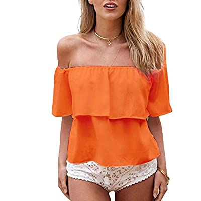 Weixinbuy Women Casual Off Shoulder Boho Crop Top