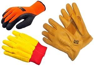 G & F 1528-5414-6203M Winter Outdoor II winter work gloves assortment, 3 styles, Medium, 3-Pair