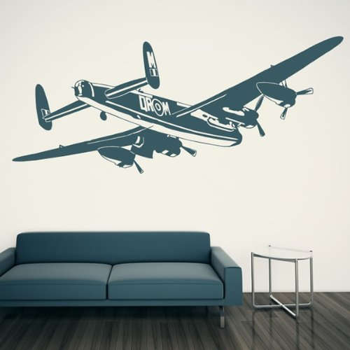 Bomber Aeroplane Wall Stickers Airplane Wall Decal Art available in 5 Sizes and 25 Colours Small Moss Green