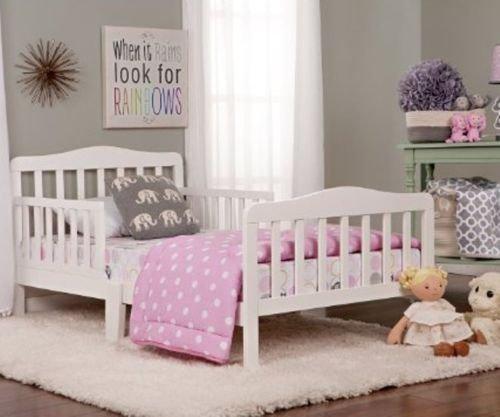 Bed-Toddler-Furniture-Bedroom-Kids-Boys-Girls-Children-Wood-Set-White-Safety-New